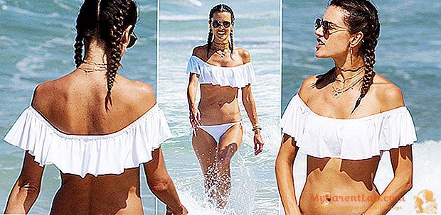 Alessandra Ambrosio neo hippie di Ibiza: kepang dan bikini dengan ruffles