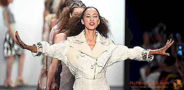 أسبوع الموضة في ميلانو 2016. بات كليفلاند ، عارضة الأزياء الممتازة على المنصة لمدة 50 عامًا