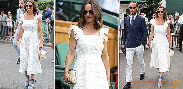 Pippa Middleton embarazada en blanco en Wimbledon